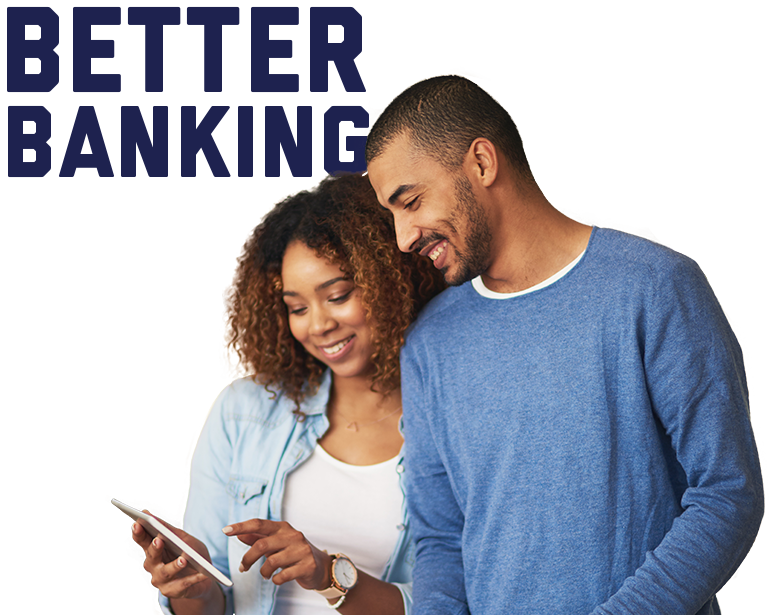 Better Banking title with man and woman holding a tablet in the foreground.
