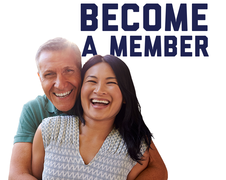Become a Member title with a happy man and woman in the foreground.